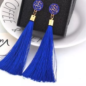 Jewelry - Tassel earrings. Blue luxe tassel earrings.
